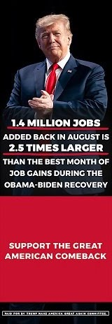1.4 MILLION JOBS ADDED BACK IN AUGUST IS 2.5 TIMES LARGER THE BEST MONTH OF JOB GAINS DURING THE RECOVERY
