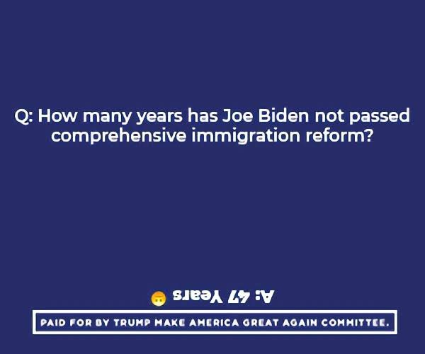 How many years has Joe Biden not passed comprehensive immigration reform