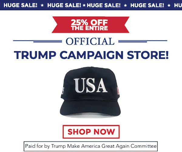 Huge Sale 25% off the entire official trump campaign store