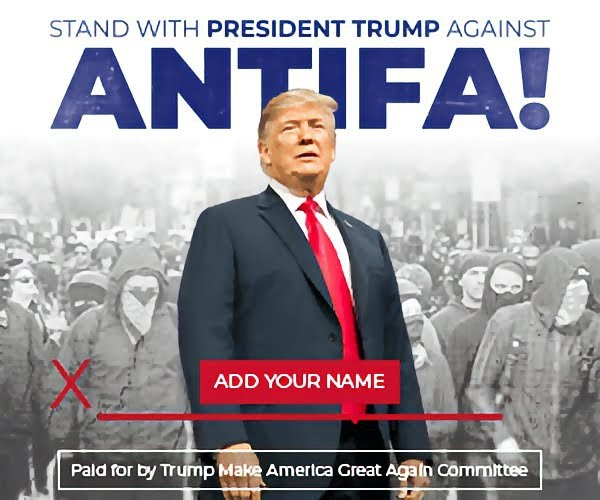 Stand with president trump against antifa