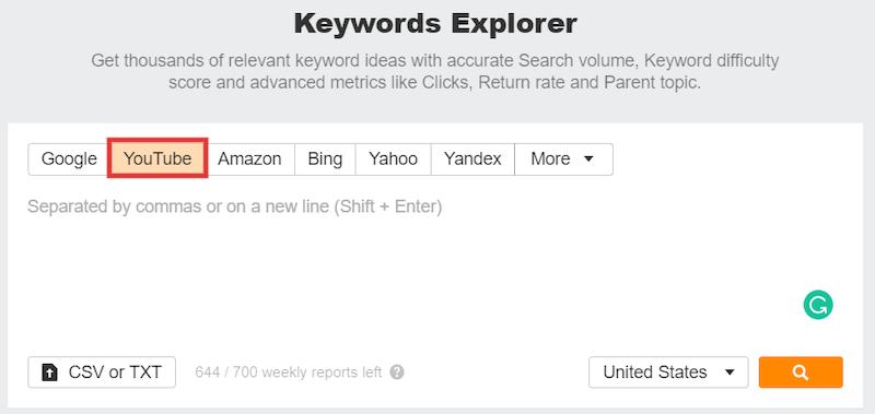 Ahrefs YouTube Keyword Explorer