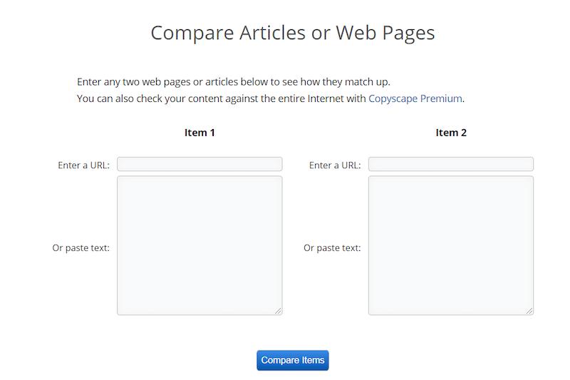 Copyscape Two Websites Comparison