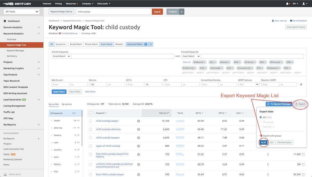 Export Keyword Magic Results